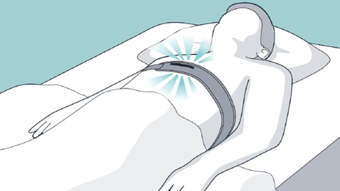 Illustration showing patient on their back wearing NightBalance