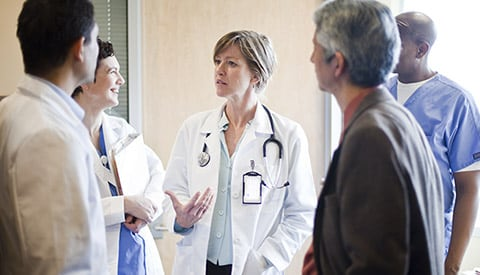 A groups of doctors in discussion