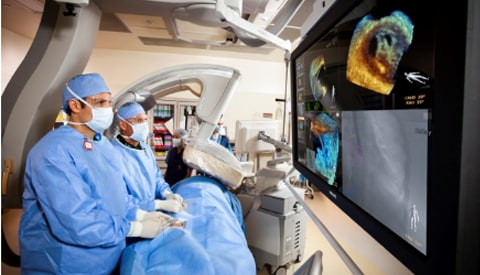TMVR being performed on a patient